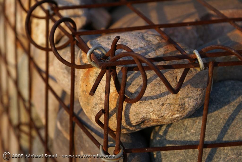 caged Rocks at The Rio Salado Habitat Restoration Area