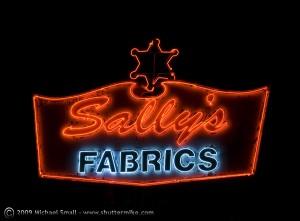 Sally's Fabrics Neon Sign, Mesa, AZ