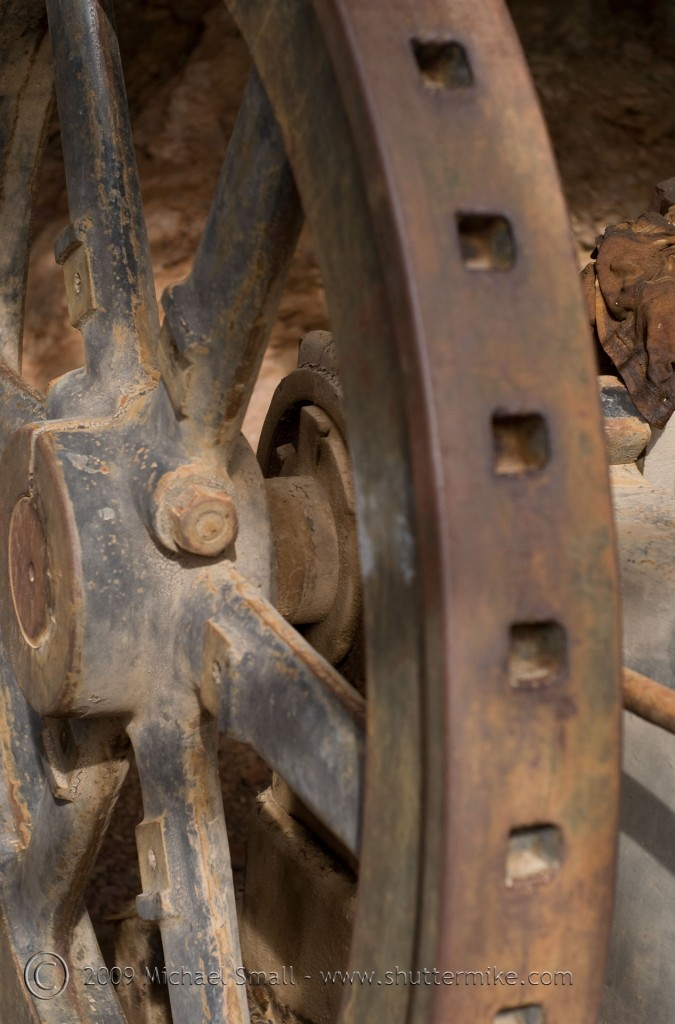 Photo of abandoned mining equipment in Vulture City, AZ