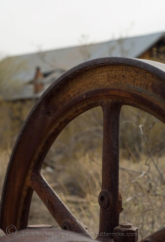 Photo of abandoned mine equipment in Vulture City, AZ