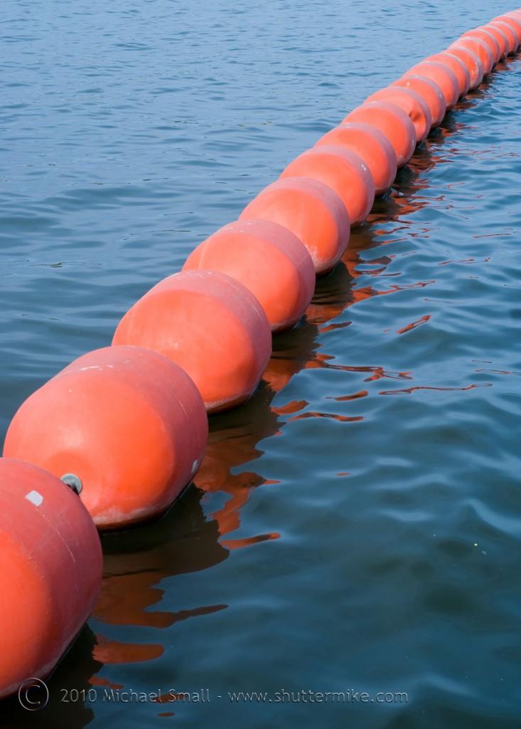 Photo of orange buoys on Tempe Town Lake in Arizona