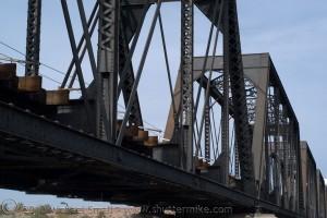 Photo of a railroad brigde in color