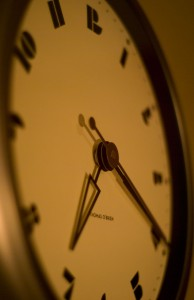 Photo of a clock under tungsten lighting