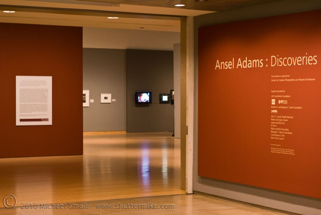Photo of the Ansel Adams exhibit at the Phoenix Art Museum