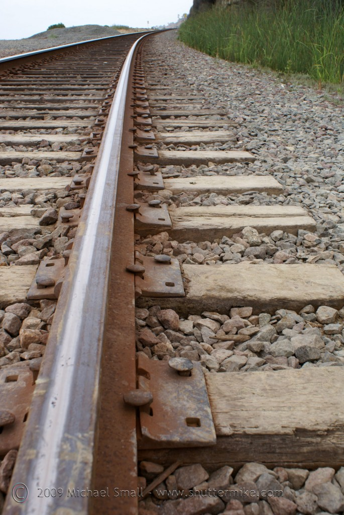 Photo of railroad track leading lines