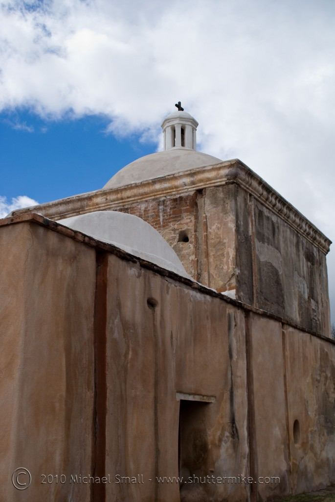 Photo of the rear of the mission with the alter dome