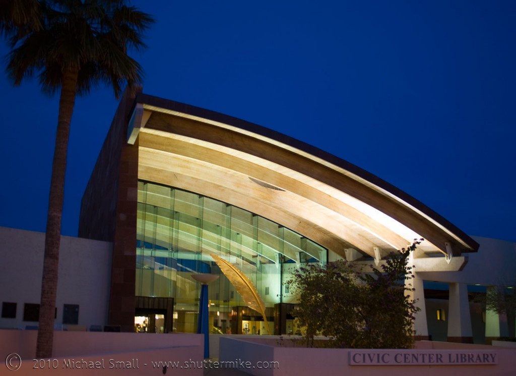 Photo of the Scottsdale Civic Center Library at Night