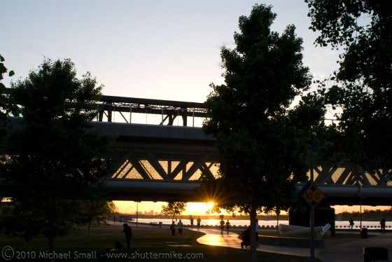 Photo of the sun setting on Tempe Town Lake