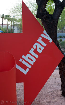 Photo of a library sign