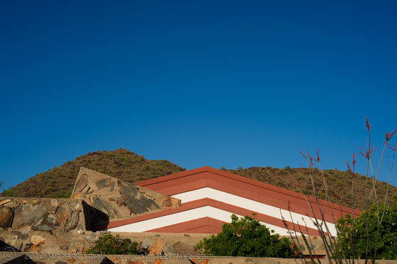 Photo of the roof line at Taliesin West