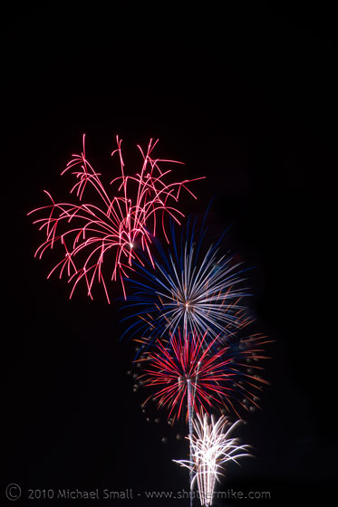 Photo of red, white and blue fireworks