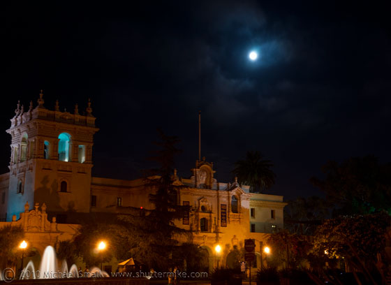 Photo of the full moon over Balboa Park in San Diego