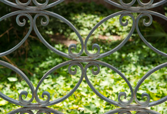 Photo of an iron fence in Balboa Park