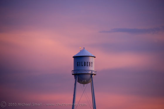 Photo of the Gilbert Water Tower at sunset