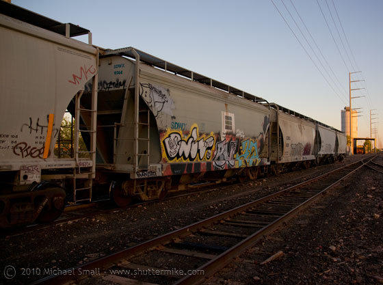 Photo of train cars with grafitti at sunset