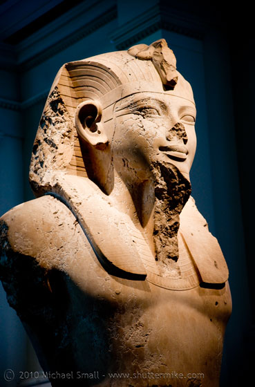 Photo of an Egyptian bust at the British Museum