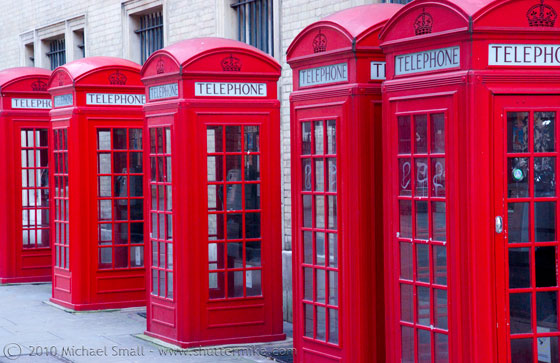 Photo of classic red London phone booths