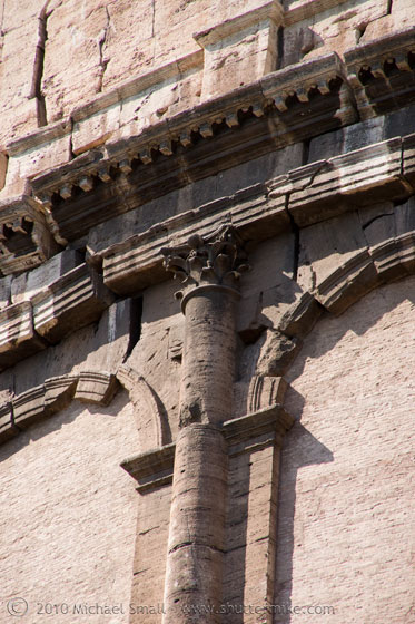Photo of the Corinithian Order columns on the Colosseum in Rome