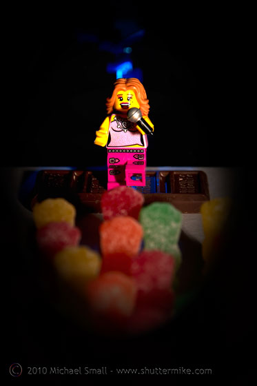 Photo of a Lego pop singer mini figure and her sour patch kid fans