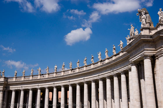 Photo of the colonnade at St. Peter's Basillica in Rome
