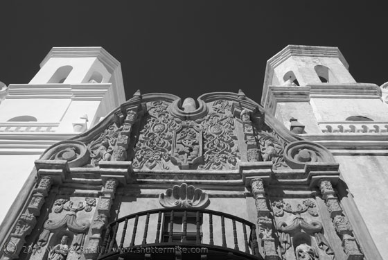 Black and white photo of San Xavier Mission in Tucson, AZ