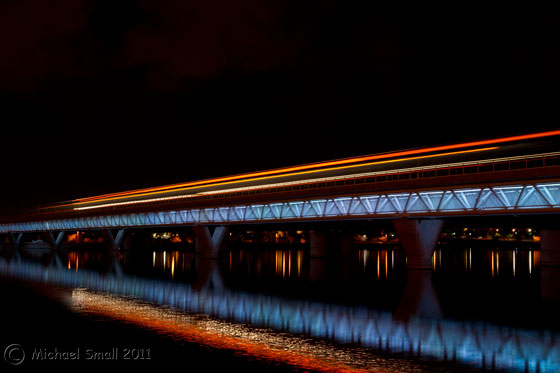 Photo of the light rail train crossing Tempe Town Lake