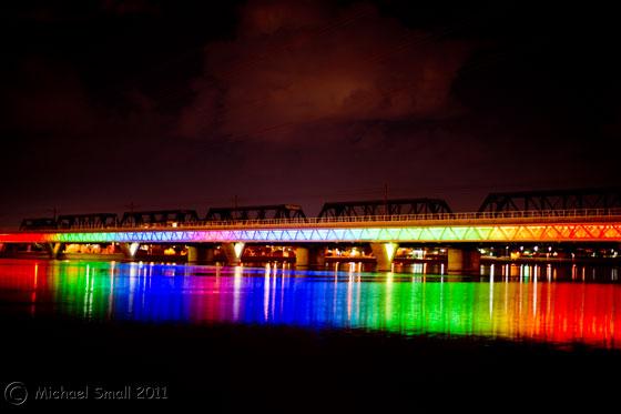 Photo of the light show on the light rail bridge in Tempe, AZ