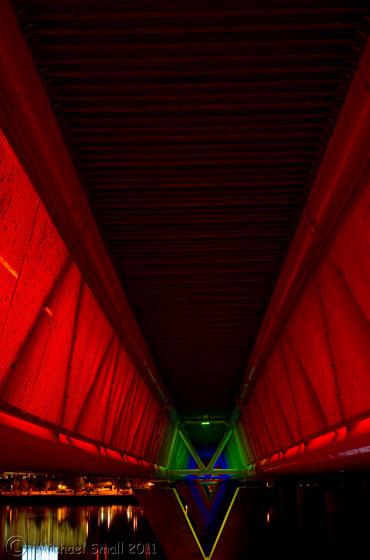 Photo of the underside of the light rail bridge in Tempe, AZ