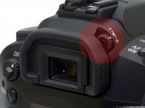 Photo of the diopter adjustment dial on a DSLR camera