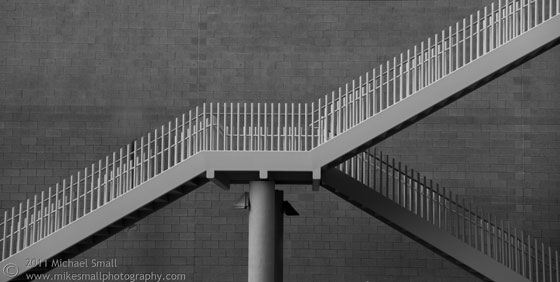 Black and White photo of a staircase in downtown Phoenix