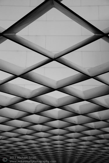 Architectural detail photo of a grid pattern roof