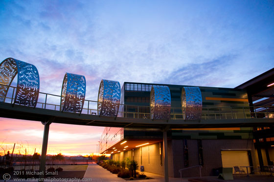 Architectural photo of the bridge at Iron Wood Hall in Chandler, AZ