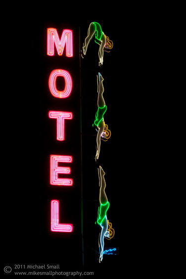 Photo of Mesa's Diving Lady historic neon motel sign