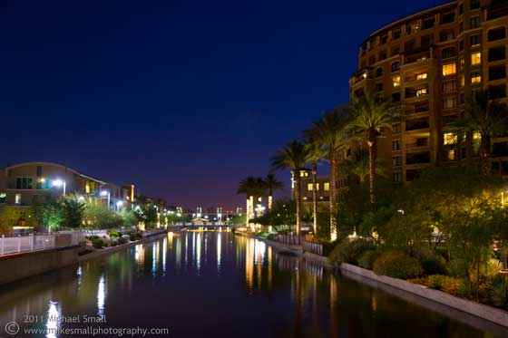 Photo of the Scottsdale Waterfront at night