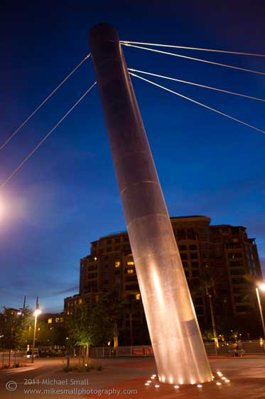 Photo of Paolo Soleri's pedestrian bridge in Scottsdale at night