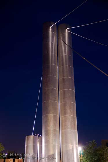 Photo of the Soleri Bridge at night in Scottsdale, AZ