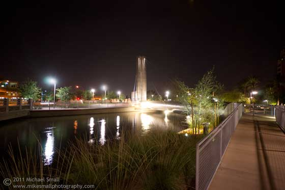 Photo of the Soleri Bridge in Scottsdale, AZ at Night