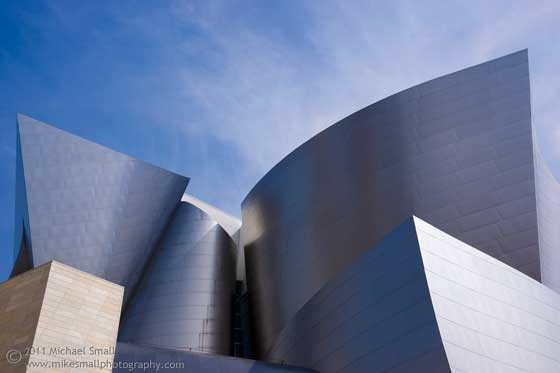 Architectural photograph of the front facade of the Walt Disney Concert Hall