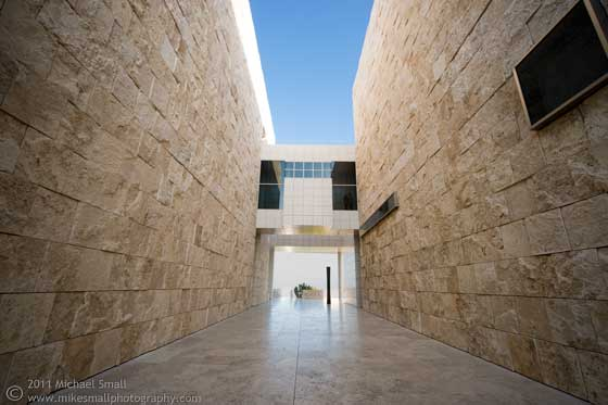 Architectural photography of hte Getty Center in LA