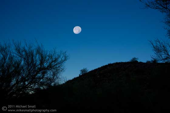 Photo of the moon setting in Arizona