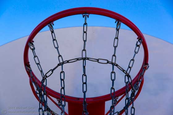 Photograph of a basketball hoop.