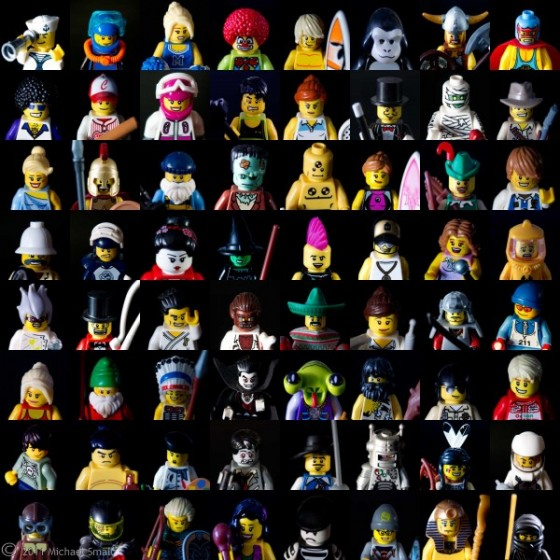 Photo collage of 64 Lego Mini Figure head shots