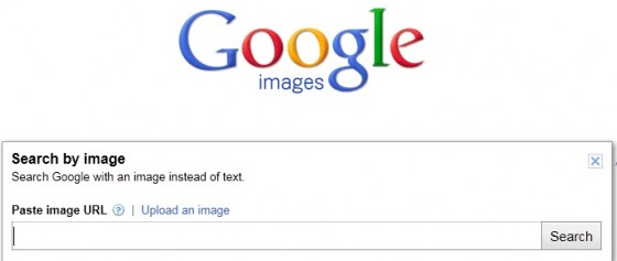 Screen capture of the Google Image Search image upload box