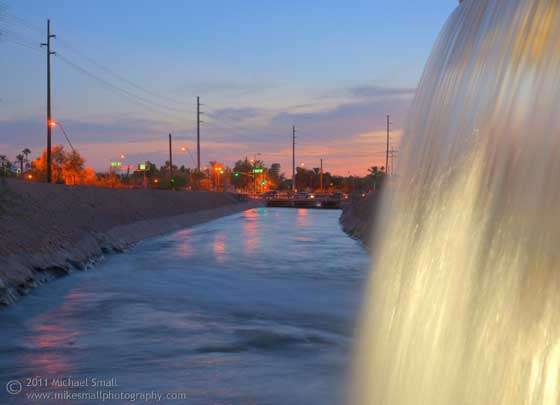 Photograph of Arizona Falls at sunset in Phoenix