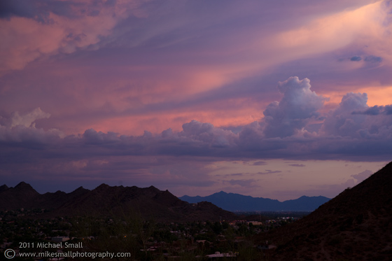 Image of storm clouds at sunset in Phoenix