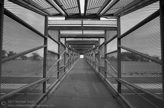 Photograph of a pedestrian overpass bridge crossing Highway 51 in Phoenix.