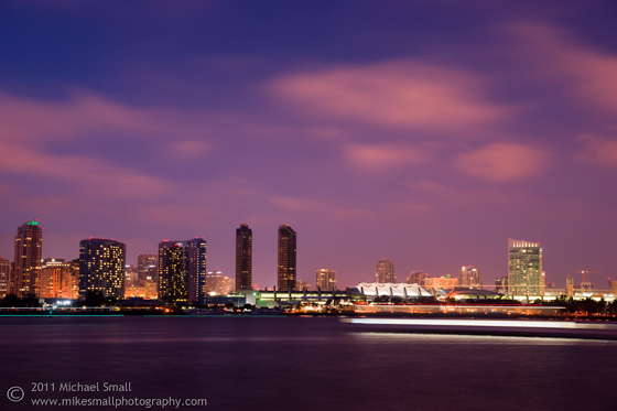 Photo of the San Diego skyline at night