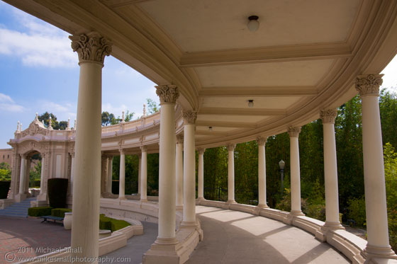 Architectural photograph of the Organ Pavillion colonnade in Balboa Park