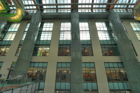 Architectural photo of the LA Central Public Library atrium space