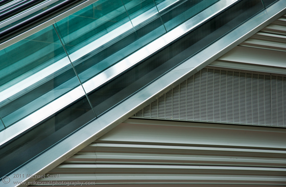 Abstract photograph of an escalator